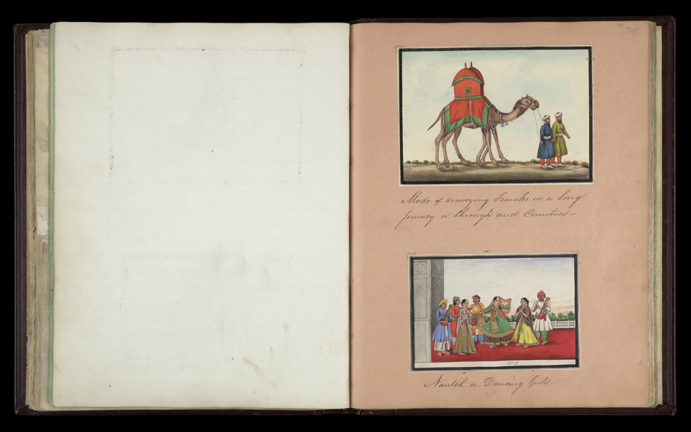 Camels with curtained seats for ladies (top right), Dancing girls with musicians (bottom right)